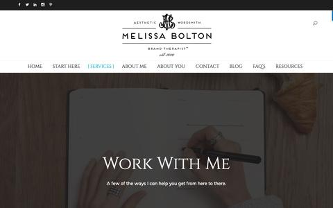 Screenshot of Services Page melissabolton.com - Work With Me - Melissa Bolton - captured Dec. 10, 2018