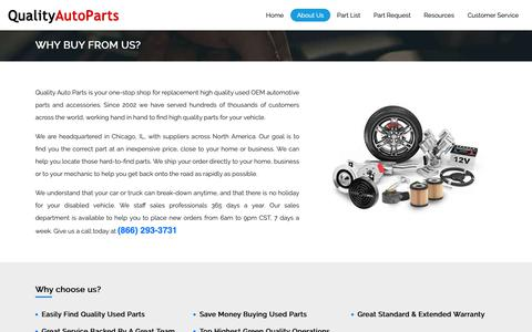 Screenshot of About Page qualityautoparts.com - Used Auto Parts, Used Engines, Transmissions | QualityAutoParts.com - captured Nov. 11, 2018