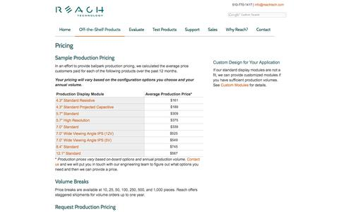 Screenshot of Pricing Page reachtech.com - Pricing | Linux Touchsceens - captured Oct. 22, 2016
