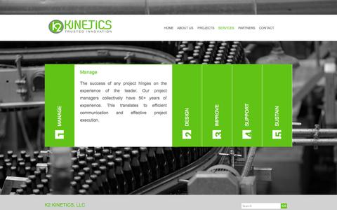 Screenshot of Services Page k2kinetics.com - K2 Kinetics, LLC : Services - captured Oct. 6, 2014