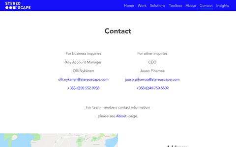 Screenshot of Contact Page stereoscape.com - Contact   Stereoscape - captured Dec. 11, 2018
