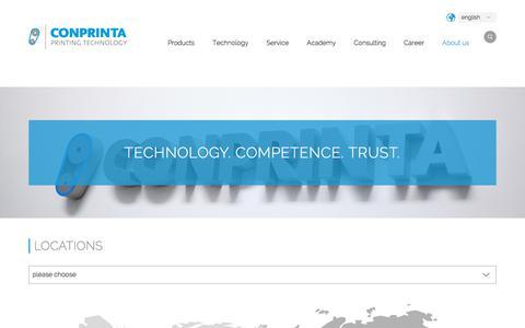 Screenshot of Locations Page conprinta.com - Locations - conprinta Printing Technology - captured July 21, 2018