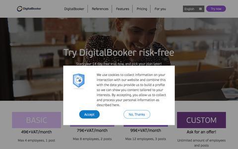 Screenshot of Pricing Page digitalbooker.com - Pricing - captured Sept. 24, 2018