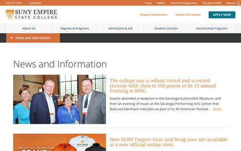 Screenshot of Press Page esc.edu - News and Information         | SUNY Empire State College - captured Sept. 5, 2017