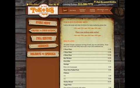 Screenshot of Menu Page pokejos.com - Pok-e-Jo's - Store Menu - BBQ - Barbecue - Barbeque - captured Jan. 29, 2016