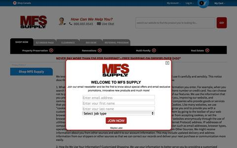 Screenshot of Privacy Page mfssupply.com - MFS Supply Privacy Policy - captured May 26, 2017