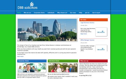 Screenshot of Home Page dbbsolicitors.co.uk - DBB solicitors | - captured Sept. 30, 2014
