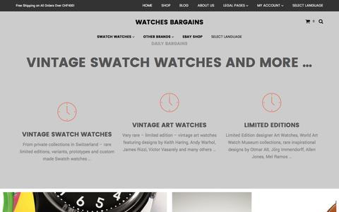 Screenshot of Home Page watches.bargains - Vintage Swatch watches and more ... - captured Jan. 29, 2016