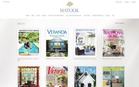 Screenshot of Press Page matouk.com - Matouk  —Press - captured Aug. 26, 2016