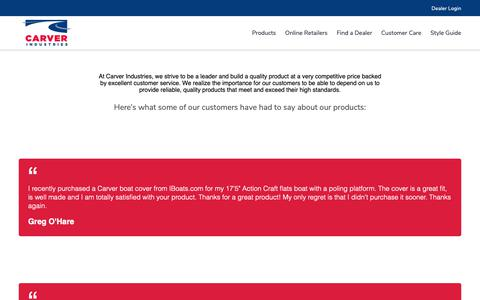 Screenshot of Testimonials Page carvercovers.com - Testimonials – Carver Covers - captured Sept. 27, 2018