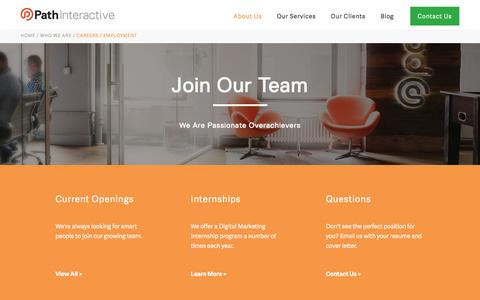 Screenshot of Jobs Page pathinteractive.com - Careers in Search Engine Marketing | SEO Jobs | Path Interactive - captured May 12, 2017