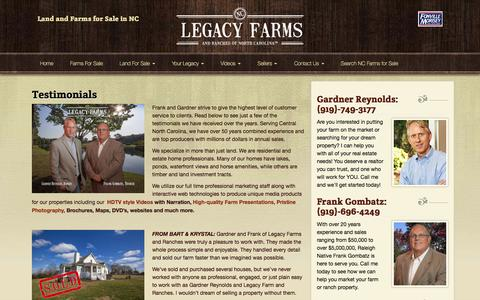 Screenshot of Testimonials Page legacyfarmsandranchesnc.com - Testimonials | Legacy Farms and Ranches North Carolina - captured Nov. 5, 2016