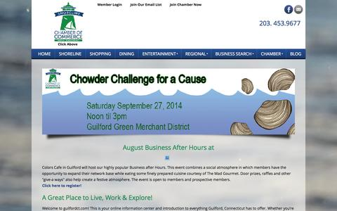 Screenshot of Home Page guilfordct.com - Guilford Chamber of Commerce - Shoreline Chamber of Commerce Guilford CT - Home - captured Oct. 3, 2014