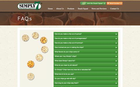 Screenshot of FAQ Page simply7snacks.com - FAQs | Simply 7 Snacks - captured Sept. 23, 2014