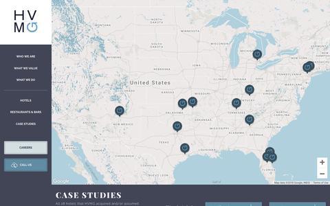 Screenshot of Case Studies Page hvmg.com - Case Studies | Hospitality Ventures Management Group - captured Sept. 29, 2018