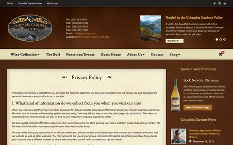 Screenshot of Privacy Page cgwinery.com - Privacy Policy | Columbia Gardens Vineyard & Winery - captured Jan. 30, 2016