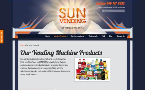 Screenshot of Products Page sunvending.com - Sun Vending Offers Coffee Service, Snacks, and Drinks in Orange County   Sun Vending - captured Oct. 7, 2014