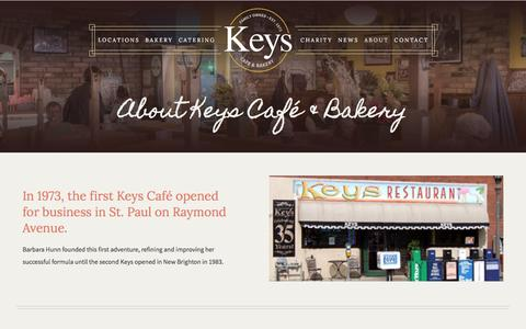 Screenshot of About Page keyscafe.com - About Keys Cafe & Bakery | 9 Twin Cities Metro Restaurants - captured Feb. 12, 2016
