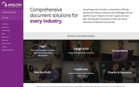 Screenshot of Home Page teamavalon.com - eDiscovery, Litigation, and Document Services - captured June 21, 2016
