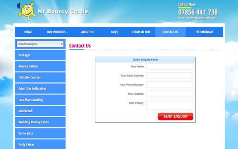 Screenshot of Contact Page mrbouncycastle.com - Contact Us - Bouncy Castle Hire in Kent in Kent, Surrey, South London. - captured Jan. 11, 2016