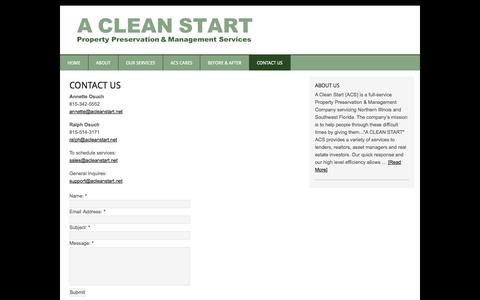 Screenshot of Contact Page acleanstart.net - Contact Us - A Clean Start - captured Sept. 27, 2014