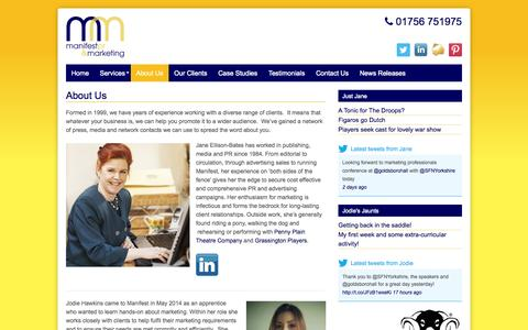 Screenshot of About Page manifestmarketing.co.uk - About Us - Manifest PR and Marketing - captured Oct. 4, 2014