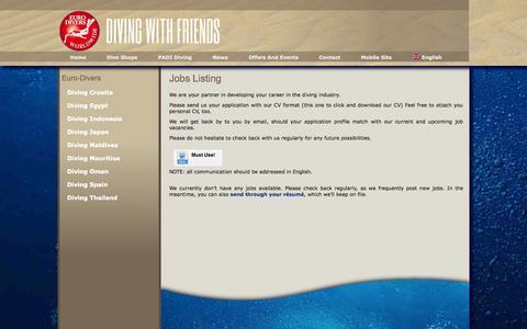 Screenshot of Jobs Page euro-divers.com - Jobs Listing - - captured Sept. 18, 2014