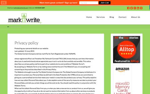 Screenshot of Privacy Page markitwrite.com - Privacy policy - markITwrite - captured Sept. 6, 2016