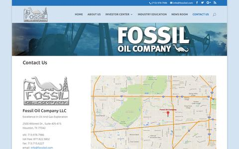 Screenshot of Privacy Page Contact Page fossiloil.com - Contact Us - Fossil Oil Company LLC - captured Nov. 11, 2016