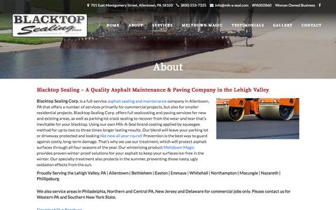 Screenshot of About Page mik-a-seal.com - Asphalt Maintenance & Paving Company - Blacktop Sealing - Lehigh Valley - captured Oct. 9, 2017