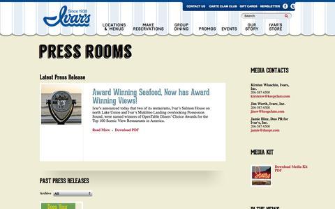 Screenshot of Press Page ivars.com - Press Releases | Ivar's - captured Sept. 23, 2014