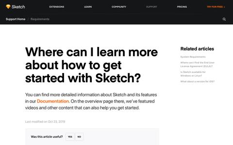 Screenshot of Support Page sketch.com - Sketch - Where can I learn more about how to get started with Sketch? - captured Jan. 21, 2020
