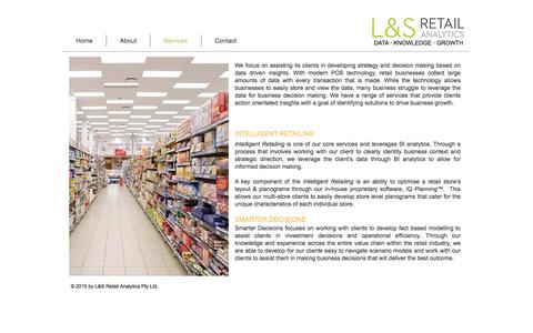 Screenshot of Services Page ls-analytics.com.au - L&S Retail Analytics   Data Consulting - captured July 9, 2017
