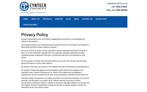 Screenshot of Privacy Page cyntech.co.uk - Privacy Policy | Cyntech Components - captured Nov. 15, 2016