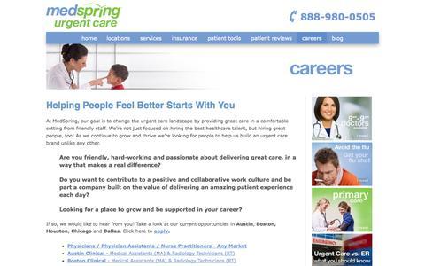 Screenshot of Jobs Page medspring.com - MedSpring Jobs | Careers for Doctors, PAs, MAs, Lab Techs & More - captured Oct. 27, 2014