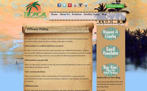 Screenshot of Privacy Page tropicalfoods.com - Privacy Policy | Tropical Foods - captured Nov. 17, 2016