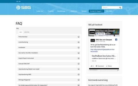 Screenshot of FAQ Page sbg.se - FAQ - SBG - Svensk Byggnadsgeodesi - captured Oct. 26, 2017