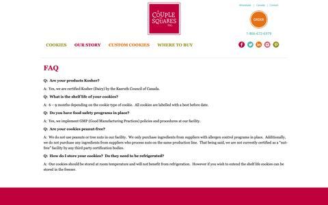 Screenshot of FAQ Page acoupleofsquares.com - FAQ | A Couple of Squares - captured Sept. 26, 2018