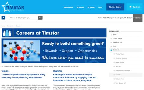 Screenshot of Jobs Page timstar.com - Careers | Contact Us - captured May 23, 2016