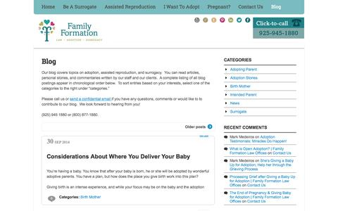 Screenshot of Blog familyformation.com - Blog  | Family Formation Law Offices | Law Office specializing in Adoption and Surrogacy. Contact us today 925-945-1880. - captured Oct. 5, 2014