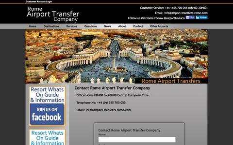 Screenshot of Contact Page airport-transfers-rome.com - Rome Airport Transfer Company, Our Company Ethos - captured March 14, 2016