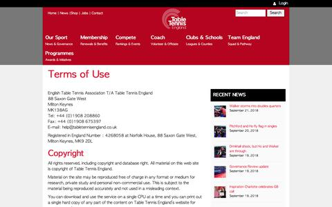 Screenshot of Terms Page tabletennisengland.co.uk - Terms of Use— Table Tennis England - captured Sept. 21, 2018