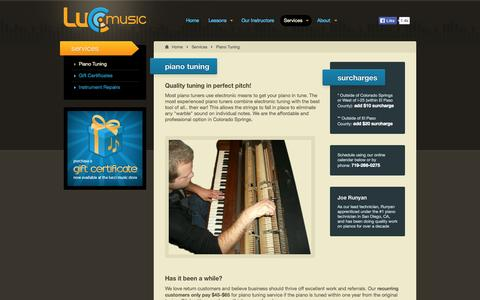 Screenshot of Services Page luccimusic.com - Lucci Music - Professional Piano Tuning & Repairs - Only $65 to retune! - captured Oct. 27, 2014