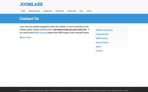 Screenshot of Contact Page joomlaxe.com - Contact Us - captured Dec. 16, 2017