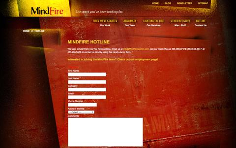 Screenshot of Contact Page mindfirecomm.com - MindFire Communications - Contact Us - captured Oct. 7, 2014