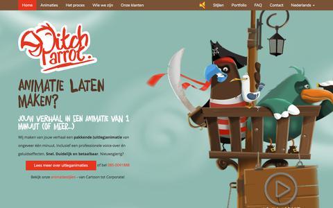 Screenshot of Home Page pitchparrot.com - Animatie laten maken? Snel. Duidelijk. Betaalbaar. - PitchParrot - captured July 18, 2018