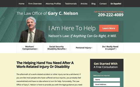 Screenshot of Home Page gcnelsonlaw.com - Modesto Workers Compensation Lawyer | Social Security Disability | Personal Injury - captured Sept. 27, 2018