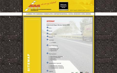 Screenshot of Site Map Page nederlands-wegenmarkeer.nl - Nederlands Wegen Markeer Bedrijf NWM - captured Oct. 6, 2014
