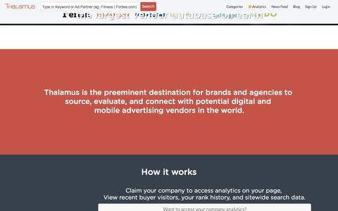 Screenshot of Home Page thalamus.co - Mobile Digital Advertising Companies Database - Thalamus - captured July 12, 2016