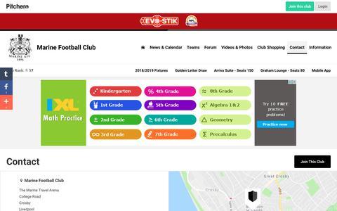 Screenshot of Contact Page pitchero.com - Contact - Marine Football Club - captured Oct. 2, 2018